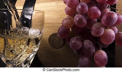 Slow motion pour wine into a crystal glass close up - Slow...