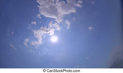 Slow motion. POV of human witch in water dive and emerge. Underwater water, sun shines. Man who sinks drowning, falls over sea level, clear cloudless blue sky, sun transparent clear water. Wide angle