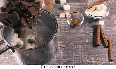 Slow motion preparation of hot chocolate drink