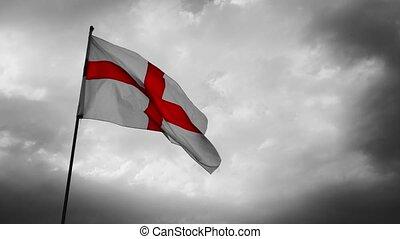 Slow motion selective colour England Flag - English flag of...