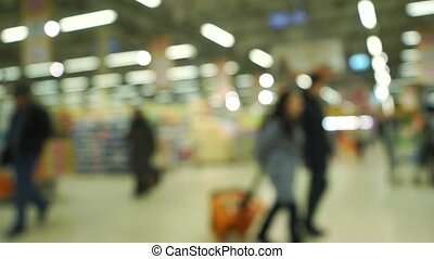 Slow motion shopping mall bokeh lights clip