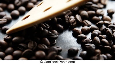 Slow motion shot of coffee beans