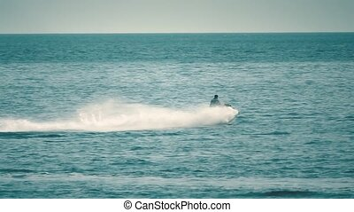 Slow motion shot of speeding jet ski on the sea - Slow...