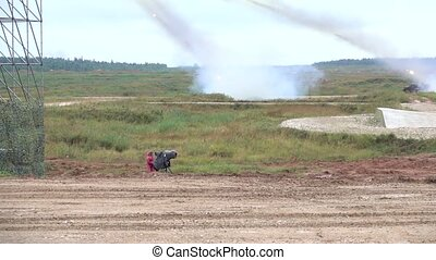 Slow motion shot of the Russian army multiple rocket...