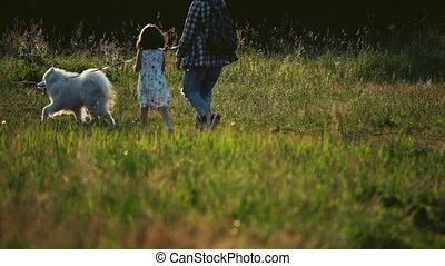 Slow motion shot of unrecognizable family walking with dog...