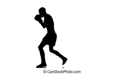 Slow motion. Silhouette boxer man coached defense
