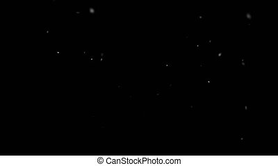 Slow Motion Snowfall Bokeh Lights on Black Background, Shot of Flying Snowflakes in the Air