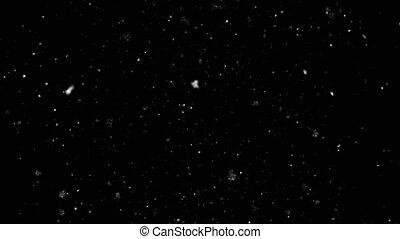 Slow Motion Snowfall Bokeh Lights on Black Background
