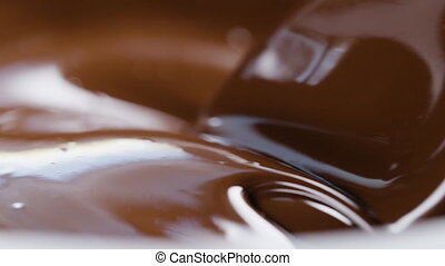slow motion stiring chocolate background, prores 180fps ...