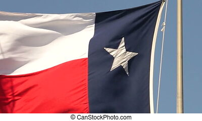 Slow Motion Texas Flag Blowing in Wind