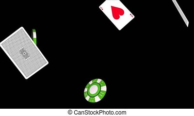 SLOW MOTION TILT-DOWN shot of poker cards falling on a casino table. Poker cards falling aces loop with DOF stock video...