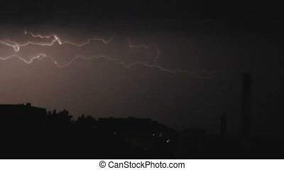 Slow motion video clip of lightning and severe thunderstorm clouds above the city at night.