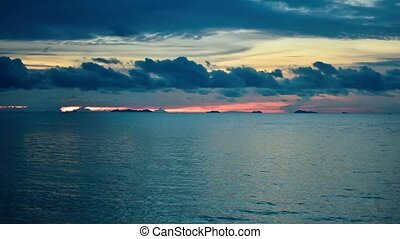 Slow motion video footage of beautiful sunset at the sea, Thailand. Koh Samui
