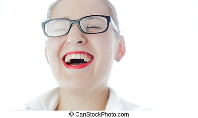 Slow motion video of happy laughing woman with red lipstick...