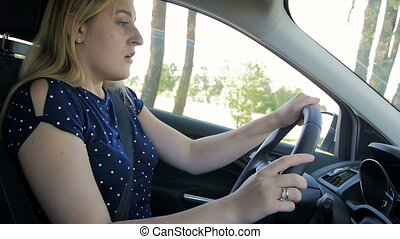 Slow motion video of young woman feeling very tired and...