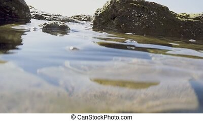 Slow motion view over the water on rocks in the sea