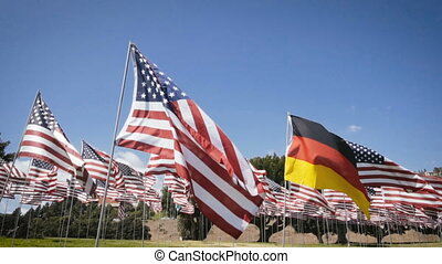 slow motion waving german flag in between american flags. diplomatic concept