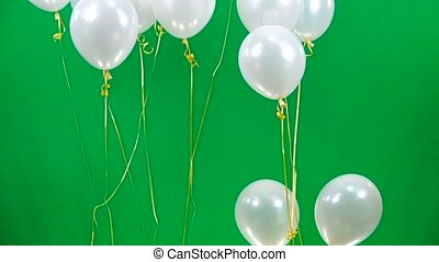 slow motion white balloons fly up  on green screen