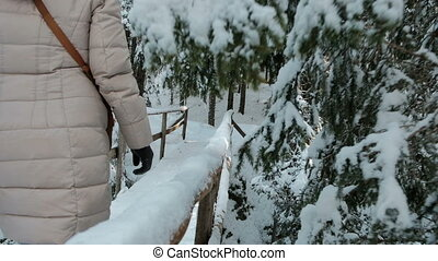 slow motion woman going on wooden bridge over river in forest