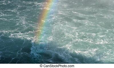 Rainbow and boiling water at Niagara Falls - Slow...