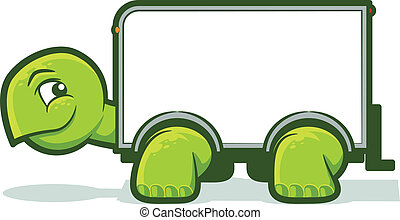 Slow Move - Cartoon tortoise with a box truck shell
