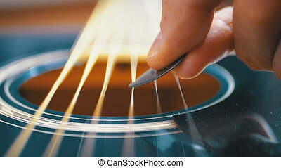 Slow Movement of the Vibrating String on Acoustic Guitar....