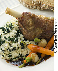 Slow Roasted Spring Lamb Shank with Colcannon and Soda Bread