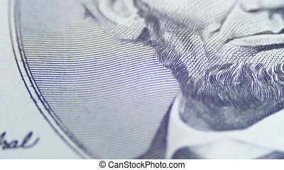 Slow Rotating Abraham Lincoln face on Five Dollar Bill