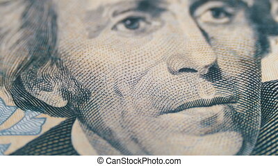 Slow Rotating Portrait of Andrew Jackson on Twenty Dollars...