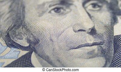 Slow Rotating Portrait of Andrew Jackson on Twenty Dollars Bill in Macro