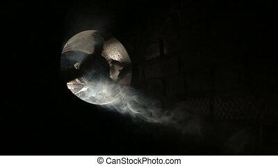 Slow rotating ventilation fan in smoke, Fan