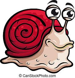 Slow snail in cartoon style. Vector illustration