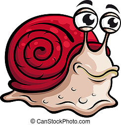 Slow snail in cartoon style. Vector illustration