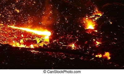 Slow sparks of molten iron