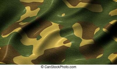 Slow waving camouflage fabric motion background seamless...