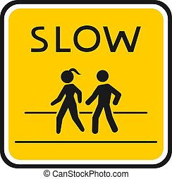 slow zone road sign