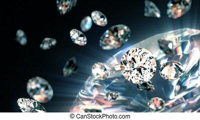 slowly falling diamonds, beautiful background. seamless looped 3d animation