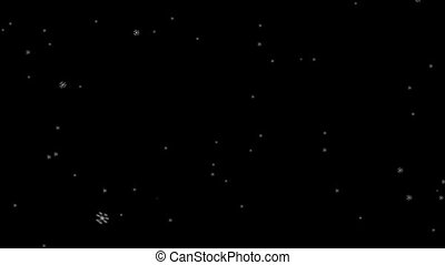Slowly falling textured snowflakes on a black background HD 1920