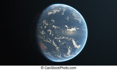 Slowly rotating realistic earth from space loop