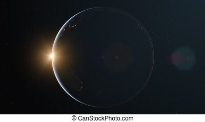 Slowly rotating realistic night earth from space with sun light lens flare - loop