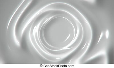 Slowly swirling white liquid abstract motion background seamless loop