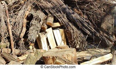 slowmotion axe - Axe Chopping Firewood Closeup in slowmotion