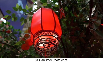 Slowmotion closeup of red chinese lanterns. Lunar new year...