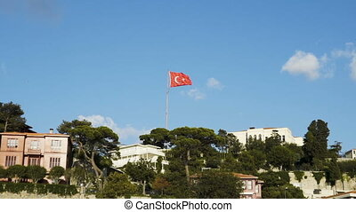 Slowmotion of Turkish flag waving in blue sky outdoors