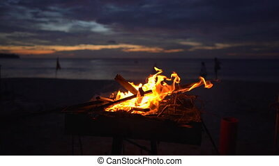 Slowmotion shot of a bonfire in a grill on a beautiful beach...