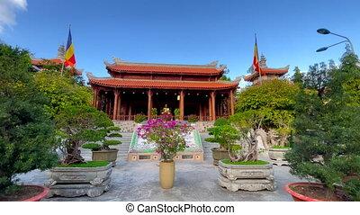 Slowmotion shot of the Long Son Pagoda in the city of Nha Trang, Vietnam.