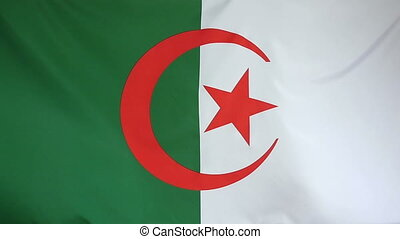 Slowmotion textile Flag Algeria - Slowmotion of a real...