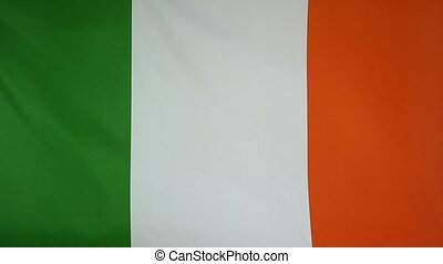 Slowmotion textile Flag Ireland - Slowmotion of a real...