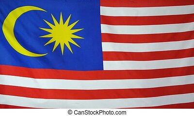 Slowmotion textile Flag Malaysia - Slowmotion of a real...
