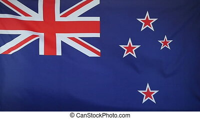 Slowmotion textile Flag New Zealand - Slowmotion of a real...